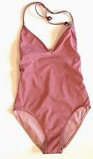 New CHANEL red maroon one piece halter sexy backless swim suit 42 8 10