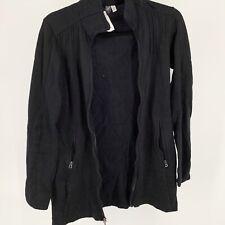 Womens Ibex Black Merino Wool Sweater Full Zip Long Jacket Usa Sz Xs