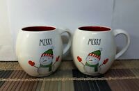 "2 Rae Dunn ""MERRY"" Mugs Snowman w/Mittens & Scarf Red Interior Christmas New"