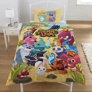 ANIMAL JAM SINGLE DUVET COVER SET REVERSIBLE KIDS CHILDRENS BEDDING NEW