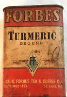 Vintage Forbes Tea & Coffee Co. Spice Tin Turmeric 1.5 oz Advertising Circa 1900