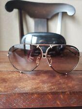 Rare Vintage Porsche Carrera 5621 Leather Wrapped Gold Frame Sunglasses