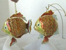 Set of 2 Matching Cloisonne Enamel Articulated Lg Tropical Fish Ornaments Metal