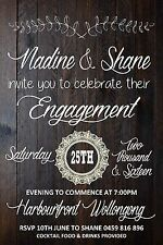 Vintage Rustic Timber Engagement Wedding Invite Invitation Party Event