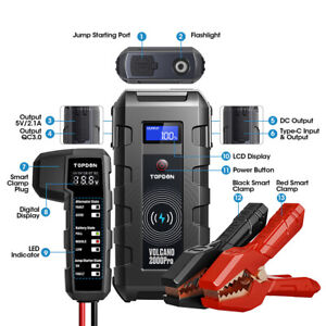 TOPDON V2000PRO 2000Amp 12V Portable Lithium Car Battery Jump Starter Brand New