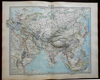 Asia Continental Map Ottoman Empire China India Japan 1891 Stieler detailed map