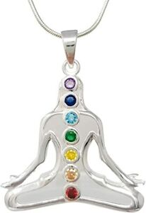 Solid 925 Sterling Silver Chakra Stones Pendant Silver Necklace for Women