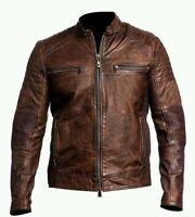 Mens Biker Vintage motorcycle Distressed Brown Cafe Racer Real Leather Jacket
