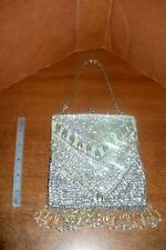 LADIES JEWELED & SILVER MESH EVENING PURSE