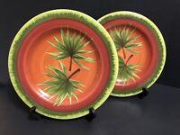 """Pair Of 2 Laurie Gates Ware Unique Handpainted Palm Leaf Salad Plates 9.5"""" EUC"""