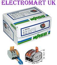 50 X 222-413 GENUINE WAGO 3 WAY SPRING LEVER CABLE WIRE TERMINAL CONNECTOR BLOCK