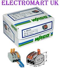 50 X 222-413 Original WAGO 3 vías Palanca De Resorte cable Conector Terminal Bloque