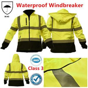 Hi Vis ANSI Class 3 Safety Waterproof Windbreaker Fleece Jacket Black Bottom