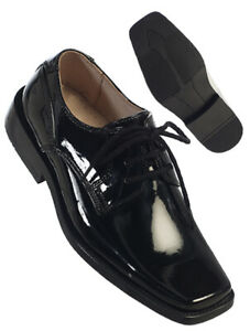 Fouger Boys SHINY Black/White Formal Dress Shoes with Laces, New (Sizes 13-8)