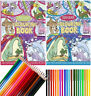 KIDS A4 Jumbo Easy Colour Colouring Book Books Pencils Feltips 96 Pages Present