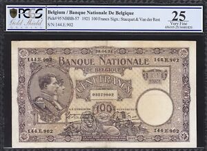 BELGIUM, 100 FRANCS, 28-04-1921, PCGS 25, VERY FINE, P-95