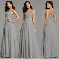 US Ever-Pretty Long Bridesmaid Dresses Lace Backless Party Prom Gowns Grey 07704