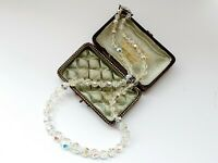 "Vintage 18""  1950s Sparkly Aurora Borealis Faceted Glass Necklace"