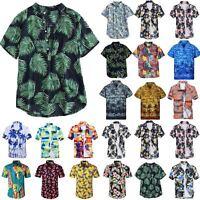 Herren Sommer Strand Hawaiihemd Kurzarmshirt Blumen Drucken Hemden Tops Bluse