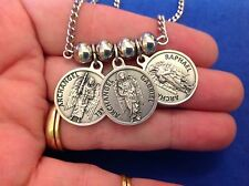 3 Archangel NECKLACE St Medals Michael Gabriel Raphael Saint Prayers Stainless