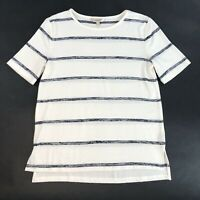 Banana Republic LuxeSpun Short Sleeve Cream Black Stripe Knit Sweater Size S