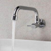Wall Mount Kitchen Sink Tap Single Only Cold Water Swivel Spout Faucet, Brass