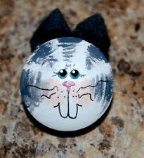 Adorable Handpainted Gray Tiger Kitty Cat Pin *Usa Made* Shipped Fast