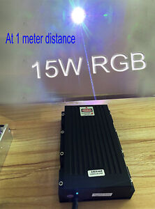 15000mW/15W RGB White Laser Module/Combined by 520nm+638nm+450nm /Analogue/TTL