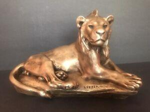 Antique Bronze Figure Of A Lion/Signed V. Peter/Susse Freres Foundry Mark/C.1900