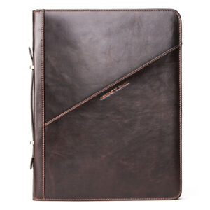 "For iPad Pro 12.9"" crazy horse leather protective case zipper portable Padfolio"