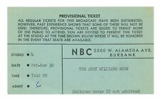 1962-1971 Andy Williams TV Show, NBC Burbank, Provisional Ticket, Admit 6 Guests