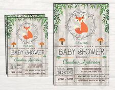 FOX BABY SHOWER Invitation Woodland Animal Shabby Chic Rustic Forest Boy Invite