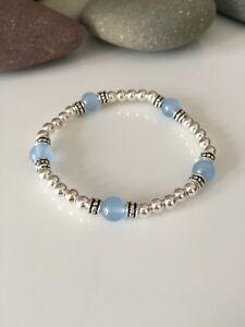 Silver Beaded Gemstone Stretch Bracelet. Pale Blue Agate Gemstone Bracelet.