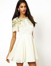 Virgos Lounge Ivory Onyx Embellished Party Skater Dress SIZE UK12 EUR40 US8