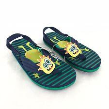 Cat & Jack Toddler Boys Leo Flip Flop Sandals Shoes Monster Blue Green XL 11-12