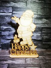 Happy christmas with free standing santa laser cut mdf