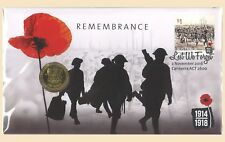 Australia 2016 ANZAC Remembrance Lest We Forget PNC Stamp & $1 UNC Coin Cover