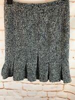 Ann Taylor Loft Petites Size 4P Black Gray Wool Blend Fully Lined Skirt