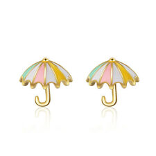 18K Gold Plated Colorful Umbrella Stud Butterfly Earrings for Women Jewelry Gift
