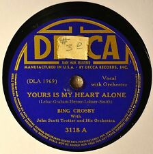 Bing Crosby Yours is My Heart Alone 78 NM 40s Blue Decca 3118 Beautiful Dreamer