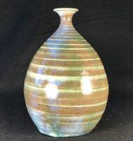 Vintage Studio Art Pottery Weed Pot Vase Stoneware Spiral Glaze MCM Rutile Blue