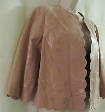 NEWPORT NEWS Pink Blush Cropped Snake-Embossed Suede Leather Jacket -12 -  $139.