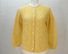 VTG 50's 60's yellow knit cardigan button up sweater top shirt blouse M/L