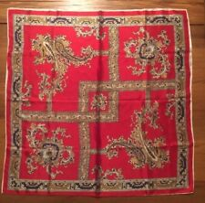 "Large Silk Scarf Red Gold Blue Paisley Filigree Print Motif 31"" x 31"" Vintage"