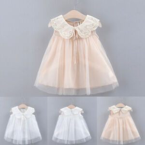 Toddler Kid Baby Girl Sleeveless Bow Lace Tulle Party Princess Dress Clothing ag