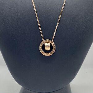 """BVLGARI necklace 14k rose gold circle spinner 19"""""""