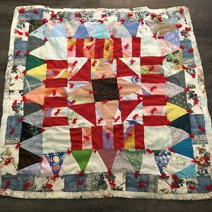 """Small square handmade quilt throw blanket Many Squares & Triangles 37""""x40"""""""