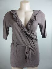 ESPRIT light mocha brown ruffle frill Mock Wrap dress top sz S 6 8
