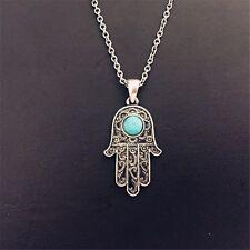 Hamsa Fatima Hand Anhänger mit Halskette 45+7 cm, Anhänger mit ein blauen Stein.