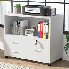 Mobile Lockable File Cabinet Lateral Filing Cabinet With 3 Drawers Amp Open Storage